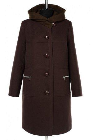 02-3040 Пальто женское утепленное Пальтовая ткань темный шоколад