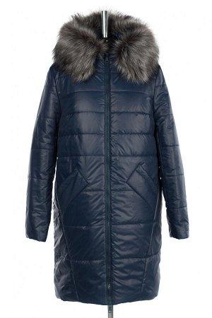 05-1958 Куртка женская зимняя (синтепон 300) Плащевка темно-синий