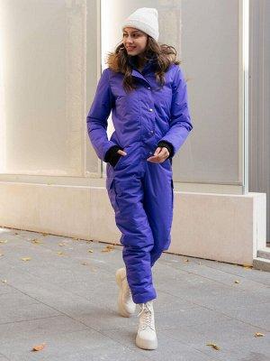 Женский зимний комбинезон, цвет темно-фиолетовый.