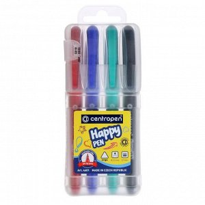 Фломастеры 4 цвета Centropen 4601/4 HAPPY PEN, 0,7 мм, пластиковая упаковка, европодвес