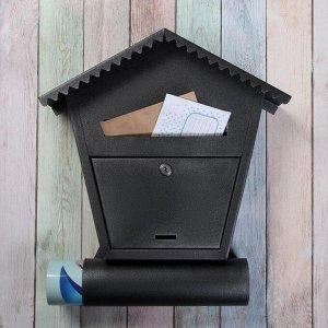 Ящик почтовый с замком, вертикальный, «Варшава», чёрный муар
