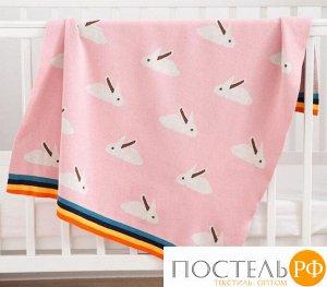Плед вязаный Крошка Я «Зайки» цвет розовый, 80х100 см