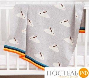 Плед вязаный Крошка Я «Зайки» цвет серый, 80х100 см