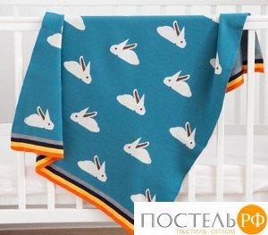 Плед вязаный Крошка Я «Зайки» цвет синий, 80х100 см