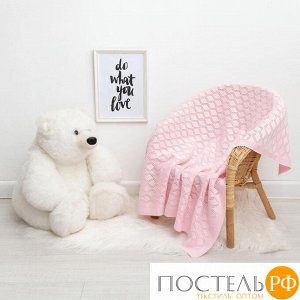 """Вязаный плед """"Крошка Я"""" Бэби, размер 90х90 см, розовый 4937538"""
