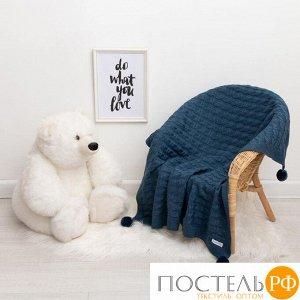 "Вязаный плед ""Крошка Я"" Рисунок коса, 90х90 см, синий 4937544"