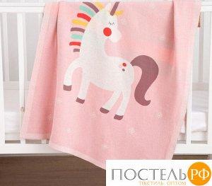 """Плед вязаный Крошка Я """"Единорог"""" цв. розовый, 80*100 см, 100% хлопок 5390068"""