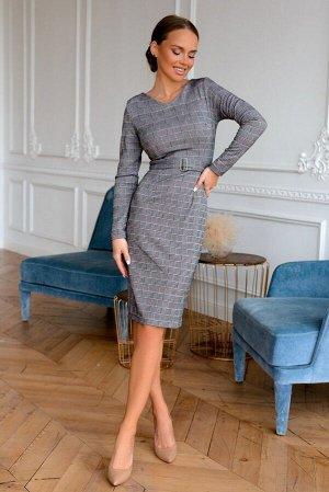 Платье Платья в клетку – стильная классика, а платье -футляр - самый распространенный фасон!   Цвет графита  отлично скорректирует фигуру.  Модель стала  заслуженным хитом  в нашем магазине! Оно  отли