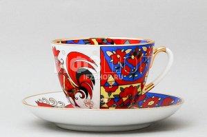 Чашка с блюдцем чайная ф. Весенняя рис. Народные узоры