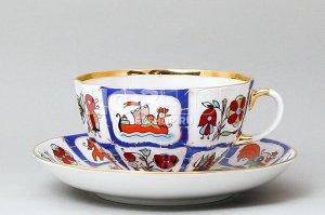 Чашка с блюдцем чайная ф. Тюльпан рис. Русский лубок
