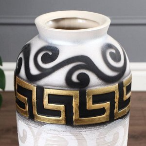 """Ваза напольная """"Арго"""". бело-чёрная. 63 см. керамика"""