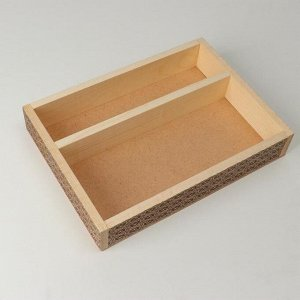 """Кашпо деревянное, 27.5?20?4.5 см """"Узоры"""", 2 отдела, гравировка"""