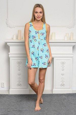 Платье-сорочка женская из кулирки Сказка мятный