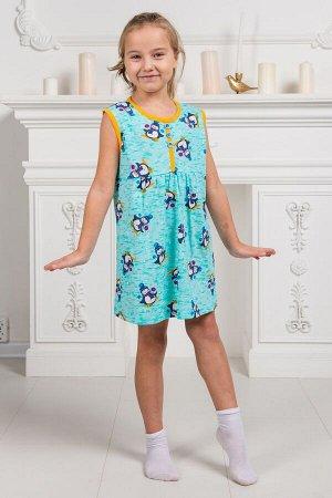 Платье-сорочка из кулирки подростковая Сказка мятный