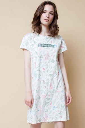 Платье(Весна-Лето)+mom (сливки, листья папоротника)