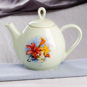 """Чайник """"Петелька"""" 1.3 л, цвет ментол, цветы, микс"""