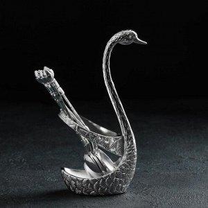 Набор ложек на подставке «Серебряный лебедь», 7,5?5?14 см