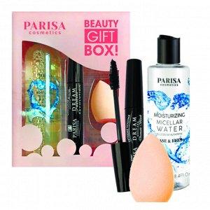 PARISA Набор подарочный BEAUTY GIFT BOX мицел. вода + тушь + спонж д/макияжа
