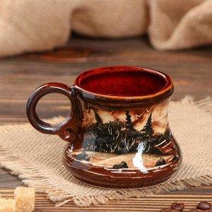 """Кружка """"Кофейная"""", роспись, коричневая, 0.2 л"""