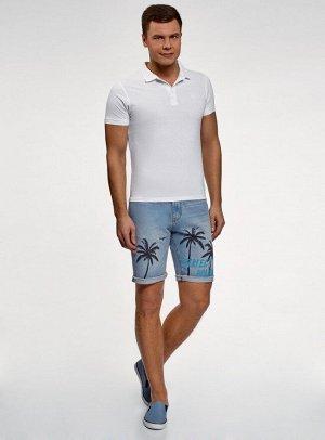 Шорты джинсовые с принтом