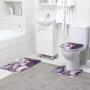 Набор ковриков для ванны и туалета Доляна «Камни», 3 шт: 38?46, 40?45, 45?75 см