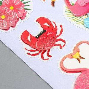 "Наклейка бумага ""Фламинго и тропики"" 28,5х10,5 см"