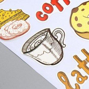 """Наклейка бумага """"Пончики и кофе"""" 28,5х10,5 см"""