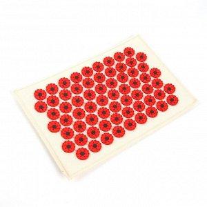 Массажёр-аппликатор «Тибетский», на мягкой подложке, с магнитами, для интенсивного воздействия, 17 ? 28 см, цвет красный