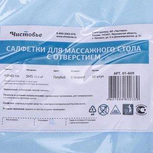 Салфетка SMS для массажного стола Голубой 40х40 см с отверстием 50 шт/уп