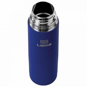 Термос LAIMA классический с узким горлом, 0,5 л, нержавеющая сталь, синий, 605122