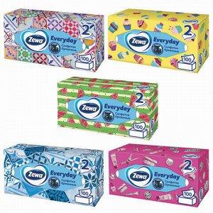Салфетки косметические 2-х слойные 100 шт., ZEWA Everyday, в картонном боксе, 24516, 6286