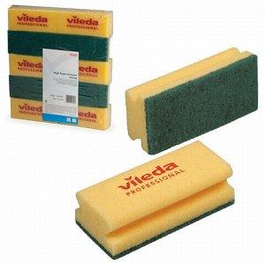 """Губки VILEDA """"Виледа"""", комплект 10 шт., для любых поверхностей, желтые, зеленый абразив, 7х15 см, 101397"""