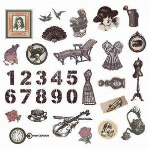 Наклейки для скрапбукинга ВИНТАЖ из washi-бумаги, 64 штуки, 32 дизайна, ОСТРОВ СОКРОВИЩ, 662264