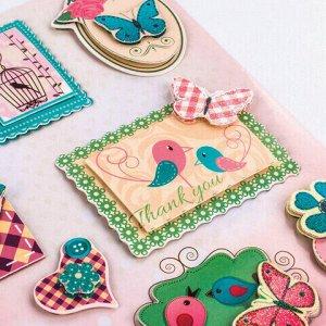 Наклейки бумажные объемные для скрапбукинга и декора РОМАНТИКА, 9 штук, ОСТРОВ СОКРОВИЩ, 662272