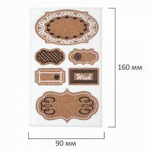 Наклейки пробковые для скрапбукинга и декора ТАБЛИЧКИ, 6 штук, с рисунком, ОСТРОВ СОКРОВИЩ, 662279