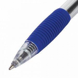 """Ручка шариковая автоматическая с грипом STAFF """"Basic"""", СИНЯЯ, корпус прозрачный, 0,7 мм, линия письма 0,35 мм, 142820"""