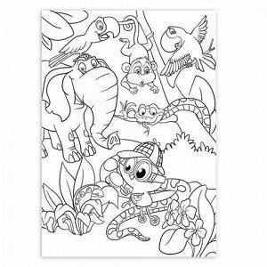 """Карандаши цветные ЮНЛАНДИЯ """"ЮНЛАНДИК-ДЕТЕКТИВ"""", 12 цветов, трехгранные, с раскраской, 181680"""