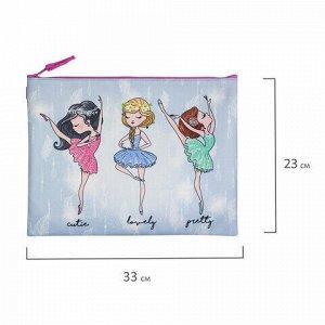 """Папка для тетрадей BRAUBERG, А4, 1 отделение, ткань, молния сверху, """"Girls"""", 229407"""