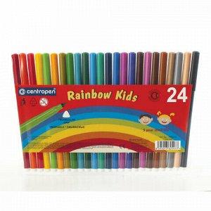 """Фломастеры 24 ЦВЕТА CENTROPEN """"Rainbow Kids"""", круглые, смываемые, вентилируемый колпачок, 7550/24ET, 7 7550 2402"""