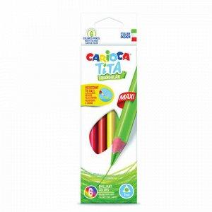 """Карандаши цветные утолщенные CARIOCA """"Tita Triangular Maxi"""", 6 цветов, пластиковые, трехгранные, 5 мм, 42790"""