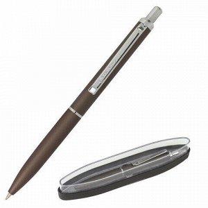 Ручка бизнес-класса шариковая BRAUBERG Bolero, СИНЯЯ, корпус серый с хромированными деталями, линия письма 0,5 мм, 143462