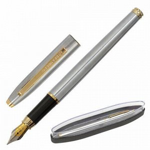 Ручка подарочная перьевая BRAUBERG Brioso, СИНЯЯ, корпус серебристый с золотистыми деталями, линия письма 0,25 мм, 143464