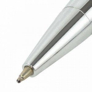 Ручка подарочная шариковая BRAUBERG Opera, СИНЯЯ, корпус серебристый с хромированными деталями, линия письма 0,5 мм, 143486