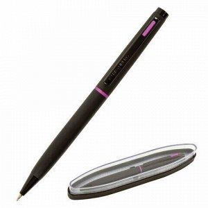 """Ручка подарочная шариковая BRAUBERG """"Tono"""", СИНЯЯ, корпус черный, синие детали, линия письма 0,5 мм, 143489"""