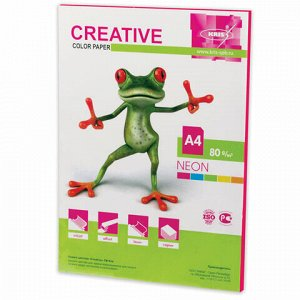 Бумага цветная CREATIVE color, А4, 80 г/м2, 50 л., неон, малиновая, БНpr-50м