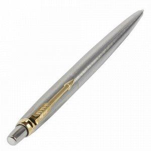"""Ручка шариковая PARKER """"Jotter Core Stainless Steel GT"""", корпус серебристый, позолоченные детали, синяя, 1953182"""