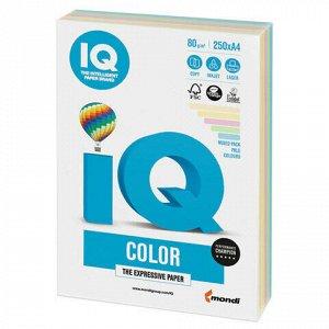 Бумага цветная IQ color, А4, 80 г/м2, 250 л., (5 цветов x 50 листов), микс пастель, RB01