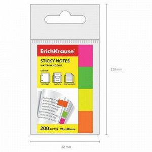 Закладки самоклеящиеся ERICH KRAUSE НЕОН бумажные, 20*50 мм, 4 цвета*50 листов, 7324