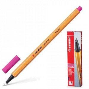 """Ручка капиллярная (линер) STABILO """"Point"""", РОЗОВАЯ, корпус оранжевый, линия письма 0,4 мм, 88/56"""