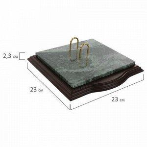 Набор настольный GALANT из мрамора, 7 предметов, зеленый мрамор/отделка красное дерево, 231485